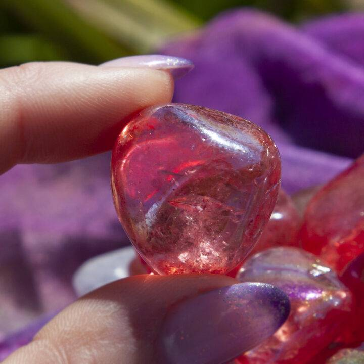Cherry Aura Quartz: Small Tumbled