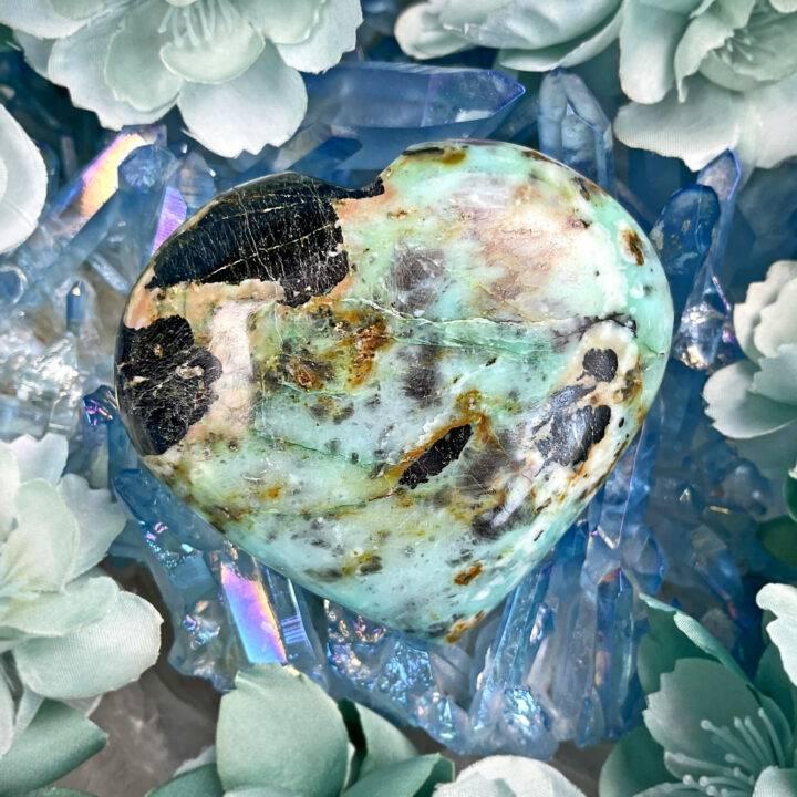 Chrysocolla in Black Tourmaline Heart