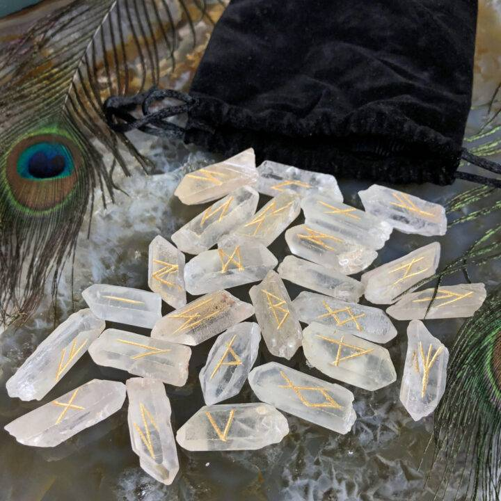 Clear Quartz Point Magical Rune Set
