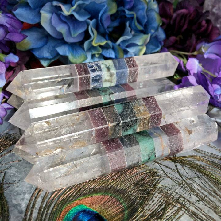 Clear Quartz, Ruby, Sapphire, and Emerald Queens Wand