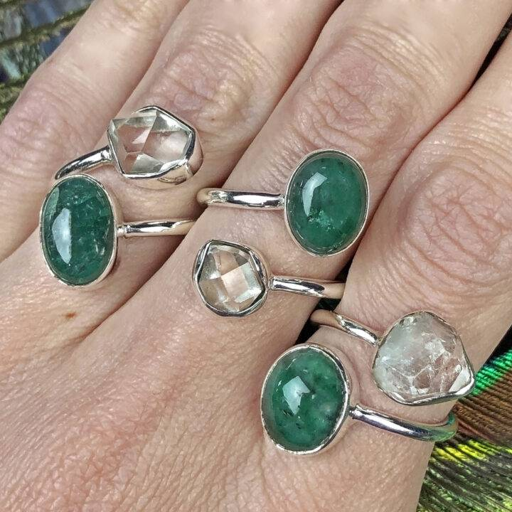 Emerald and Herkimer Diamond Personal Power Ring