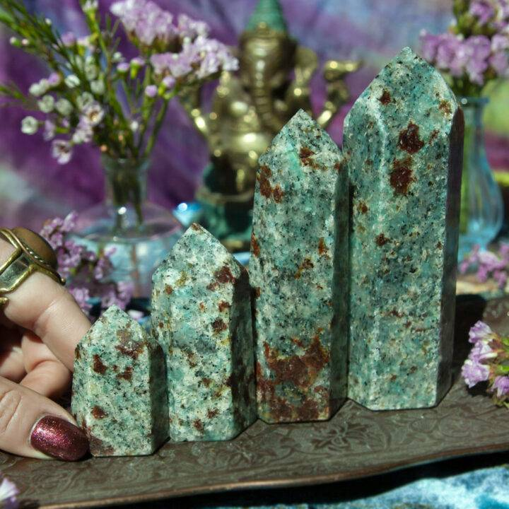 Grounded Truth Amazonite Garnet and Black Tourmaline in Mica Generator