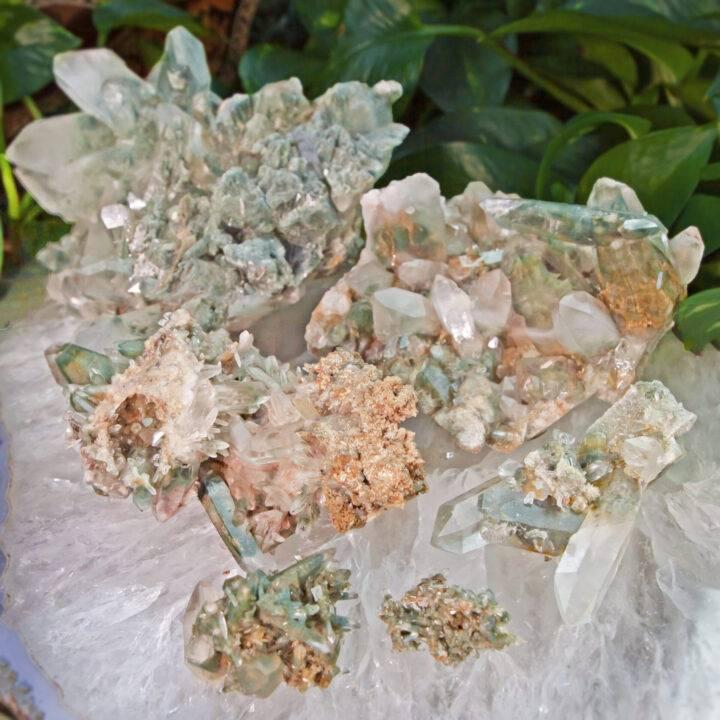 Green Chlorite in Himalayan Phantom Quartz Master Healer Cluster