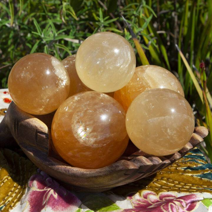 Honey Calcite Heal the Mother Wound Sphere