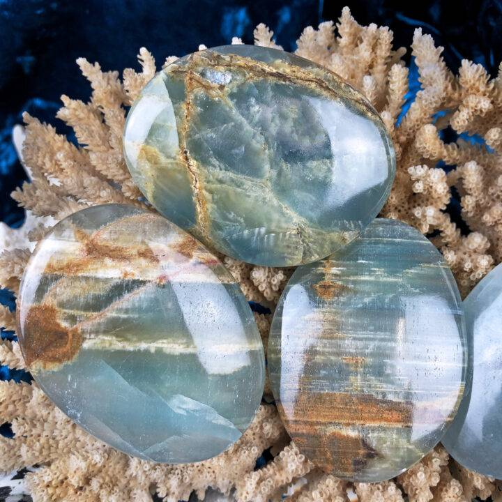Lemurian Blue Calcite Peace and Happiness Palm Stone