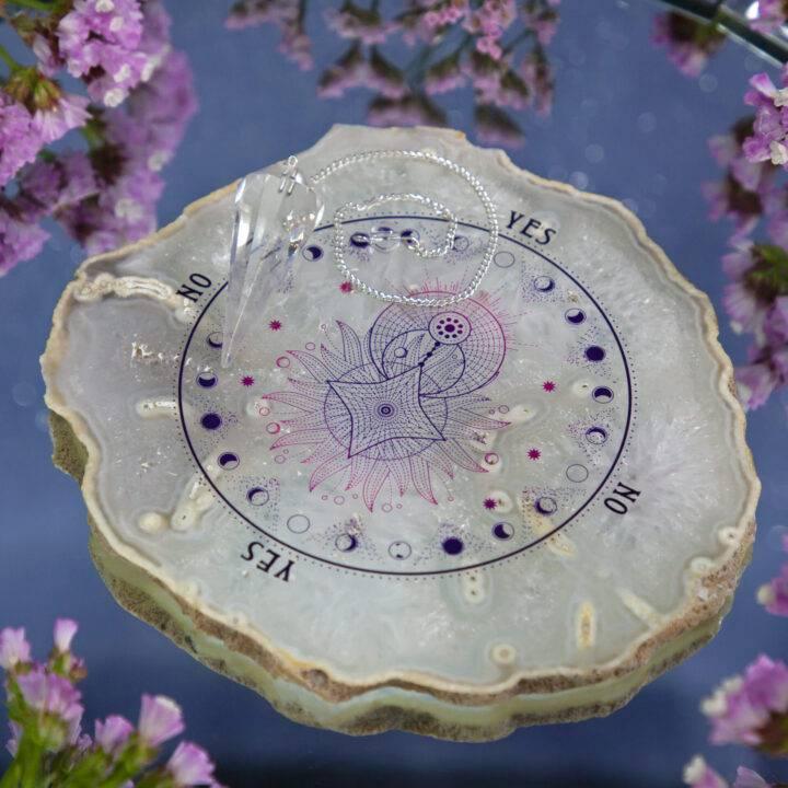 Moon Magic Agate Pendulum Plate with Quartz Pendulum