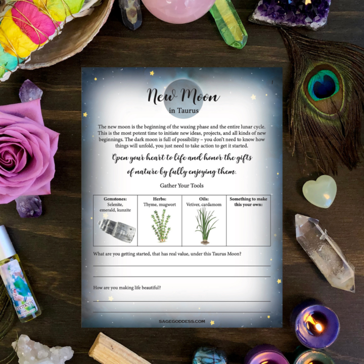 Free Downloadable Taurus New Moon Worksheet