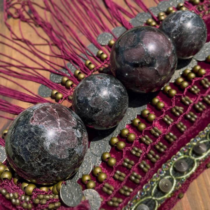 Arfvedsonite with Garnet Manifestation Sphere
