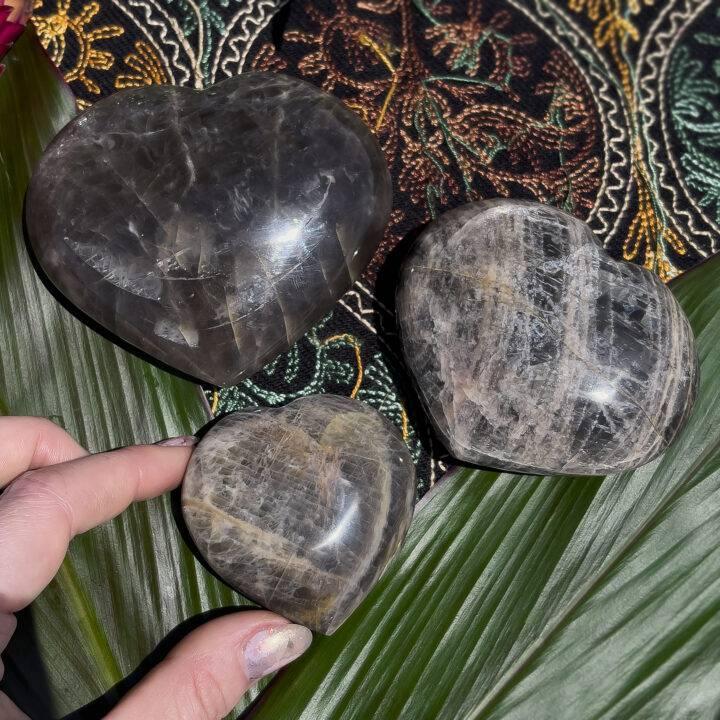 Black Moonstone Visioning Heart