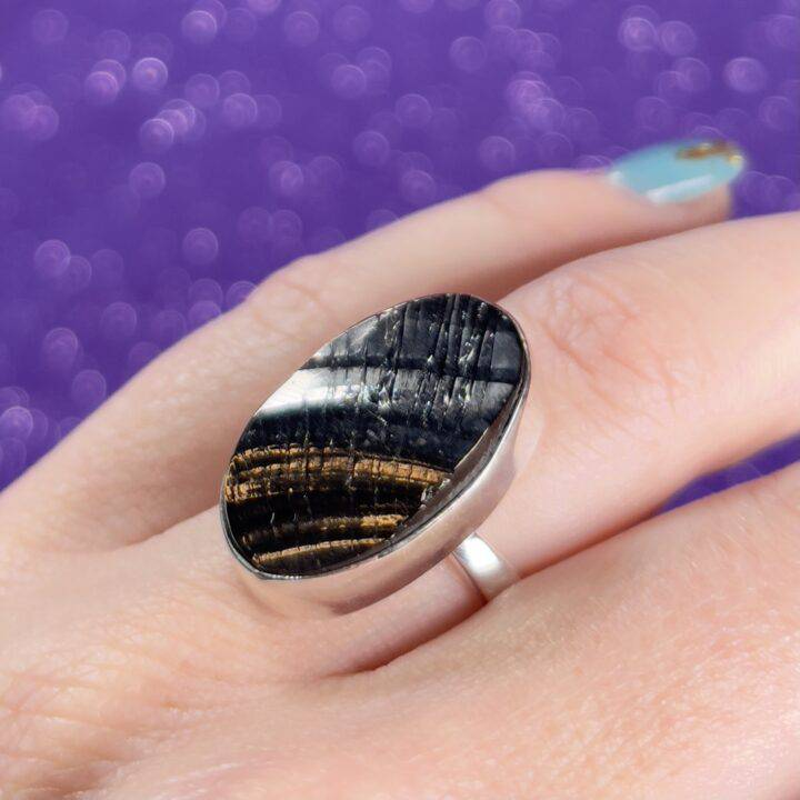 Elite Shungite Sterling Silver Adjustable Ring
