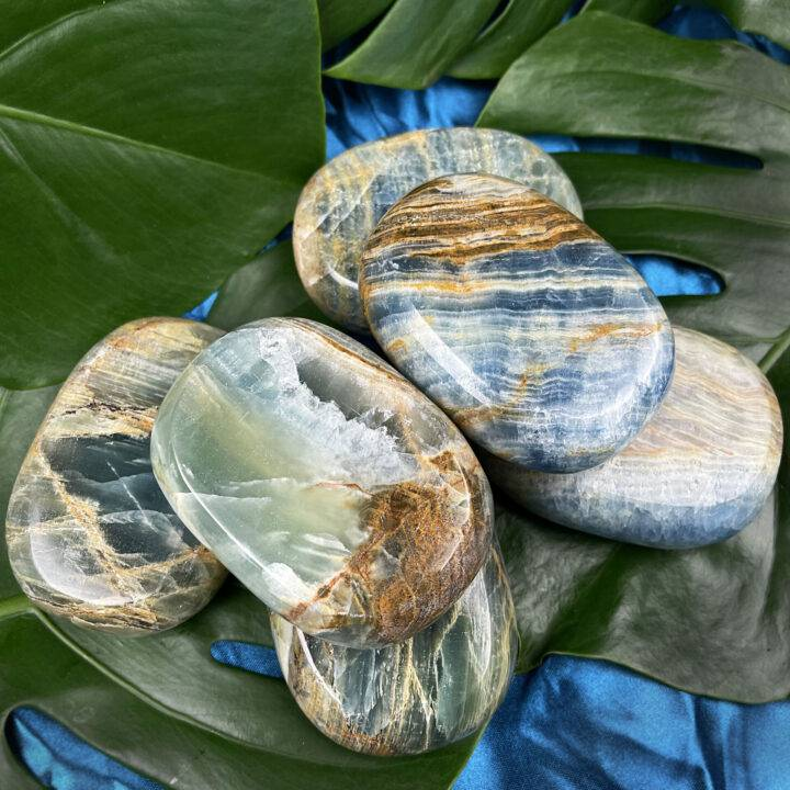 Lemurian Blue Calcite Palm Stone
