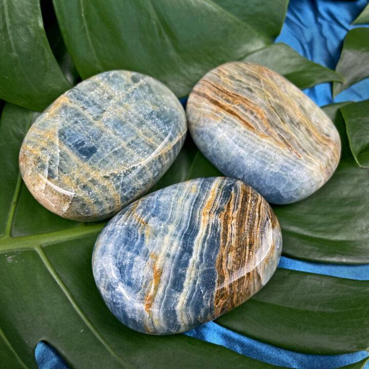 Lemurian Blue Calcite Palm Stone