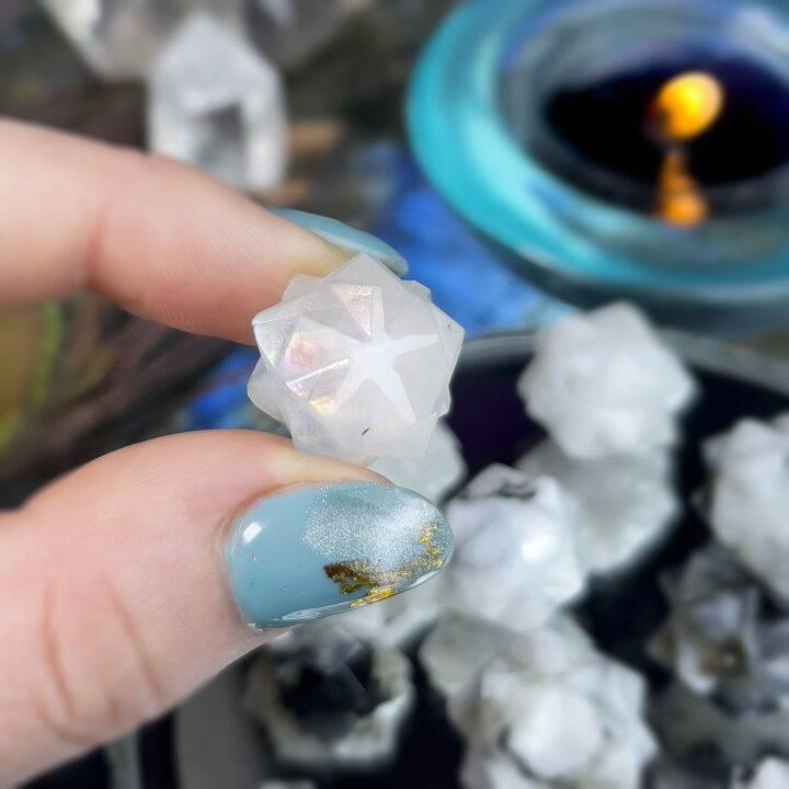 Moonstone 3D Metatrons Mudra Meditation Cube
