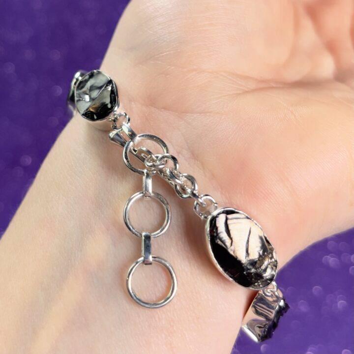 Natural Elite Shungite Sterling Silver Bracelet