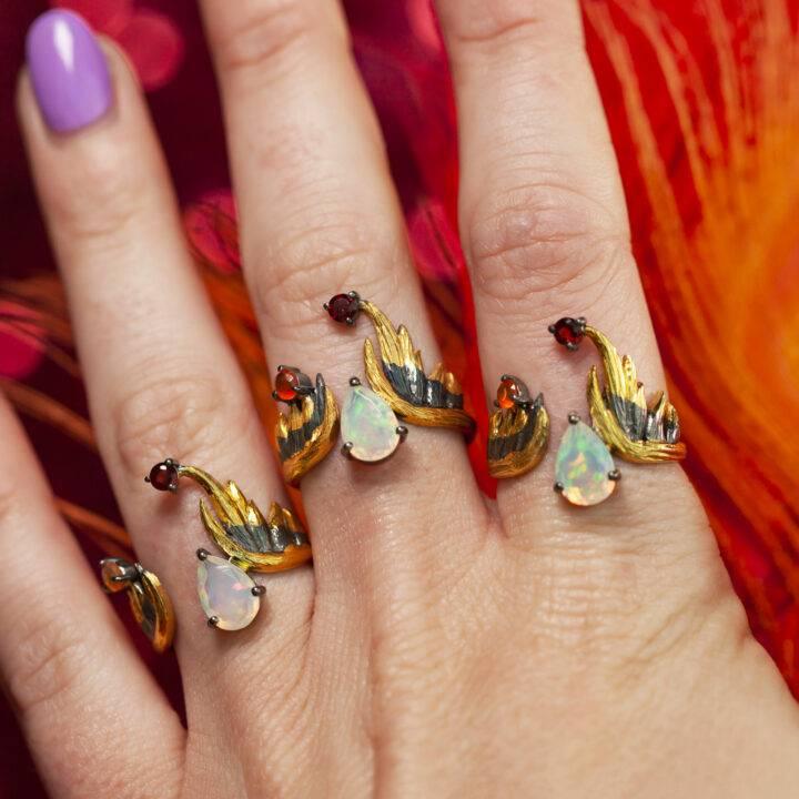 Phoenix Rising Fire Opal, Garnet, and Carnelian Ring