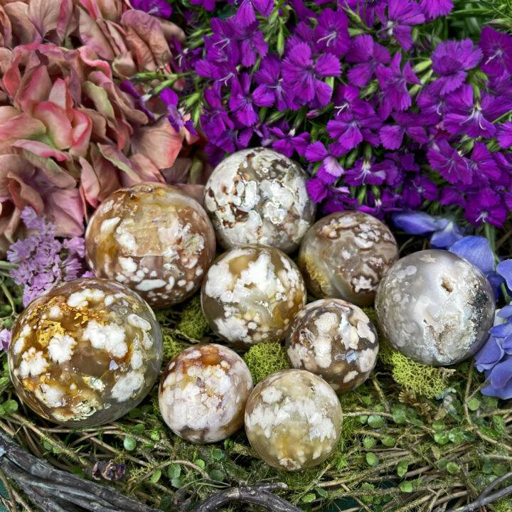 Peace and Beauty Flower Agate Sphere