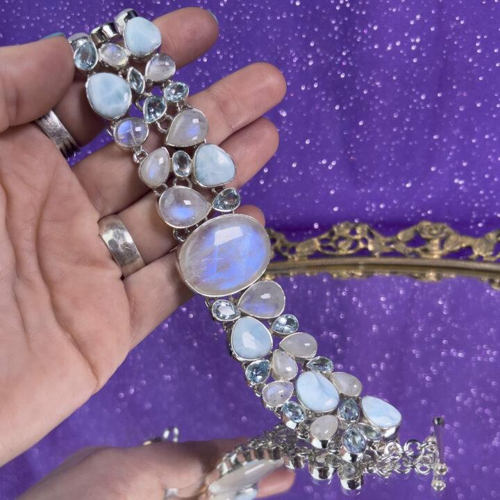Rainbow Moonstone, Larimar and Blue Topaz Bracelet