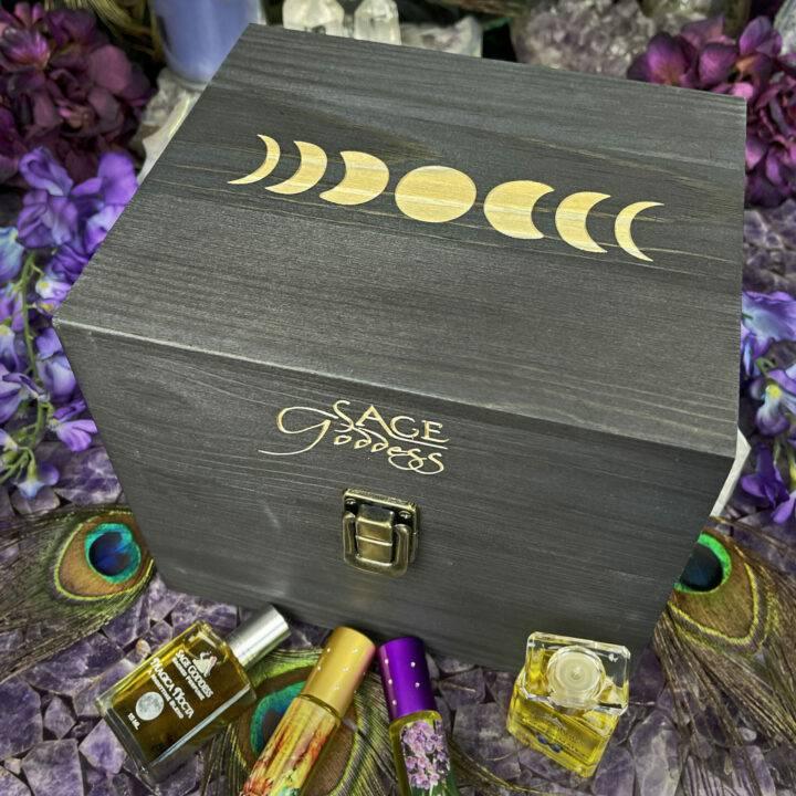 Sage Goddess Moon Magic Wooden Perfume Case