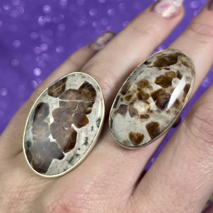 Spessartine Garnet in Limestone Adjustable Ring