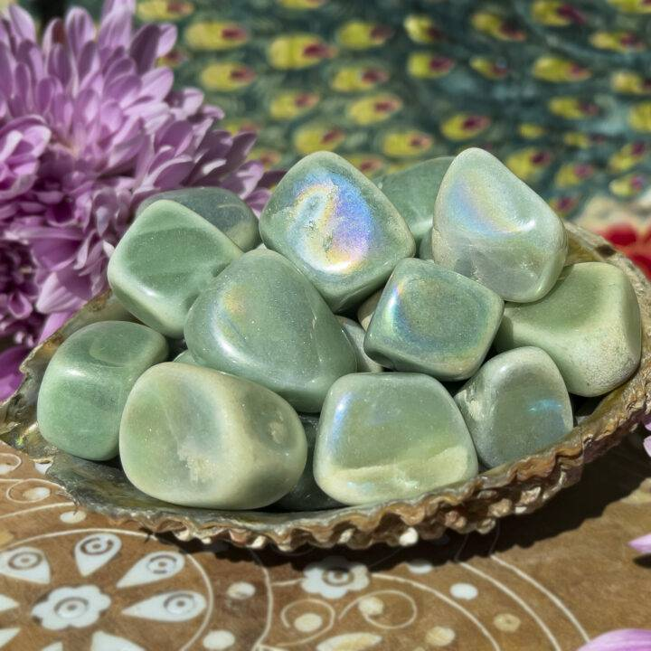 Tumbled Angel Aura Green Aventurine
