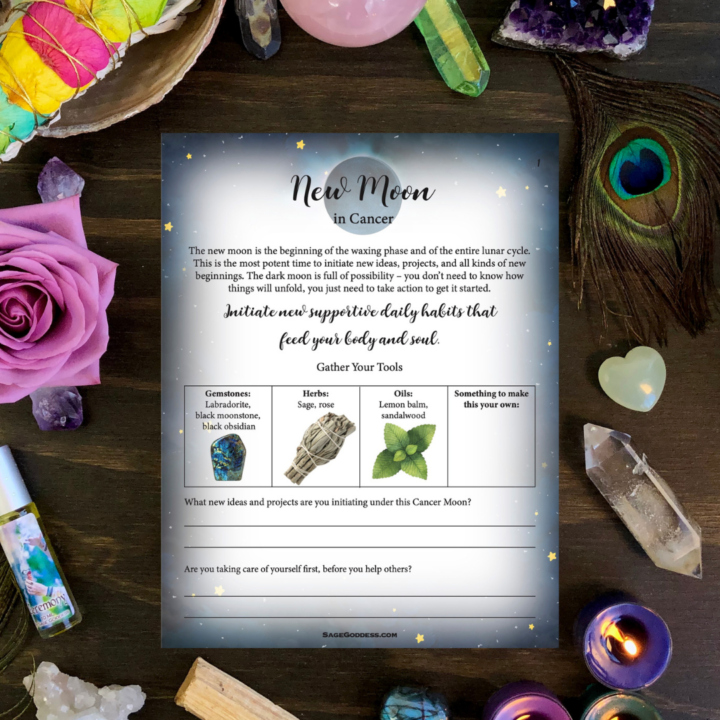 Free Downloadable Cancer New Moon Worksheet