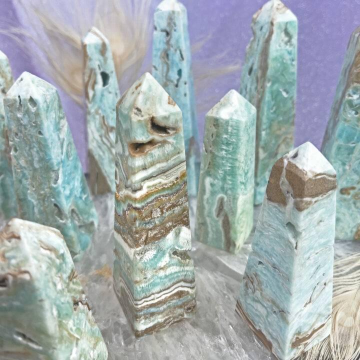 Blue Aragonite Angelic Frequency Obelisk