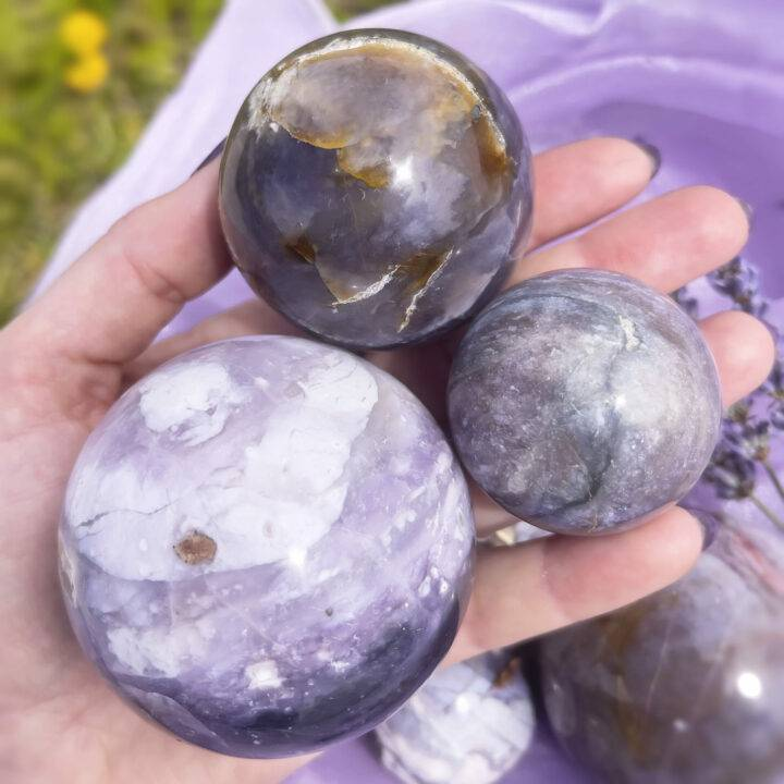 Calming and Soothing Purple Chalcedony Sphere