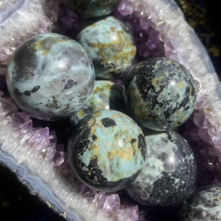 Chrysocolla with Black Tourmaline Sphere