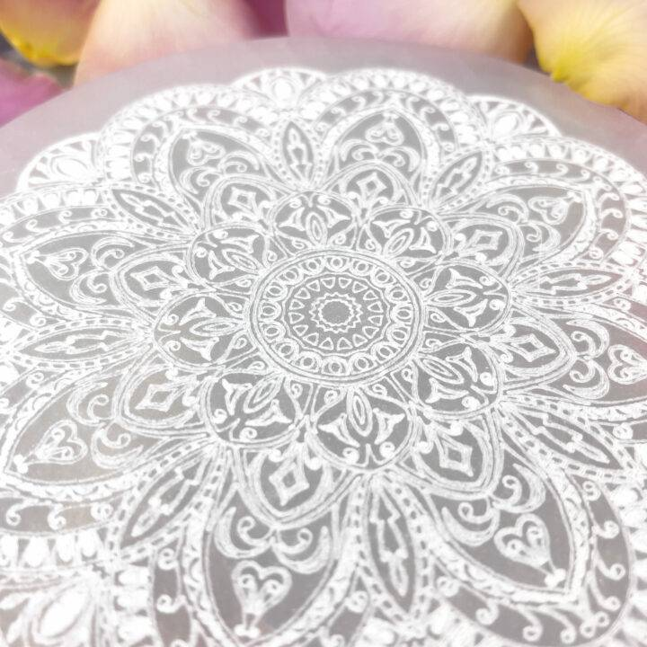 Engraved Mandala Selenite
