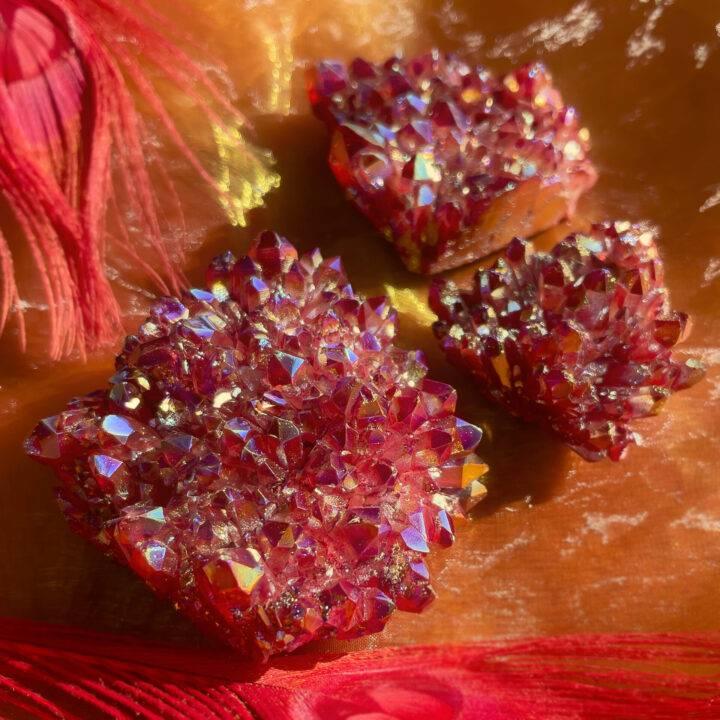 Fire Red Aura Quartz Cluster