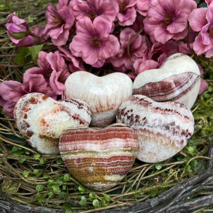 Fear Release Tri-Colored Calcite Heart
