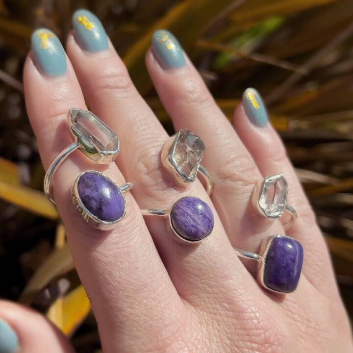 Herkimer and Charoite Spiritual Warrior Ring