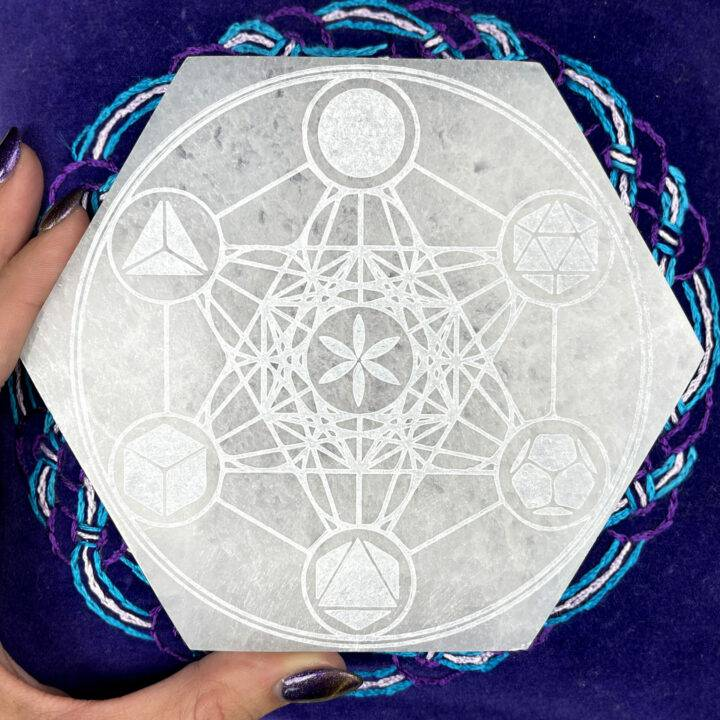 Metatrons High Vibration Engraved Selenite Hexagon