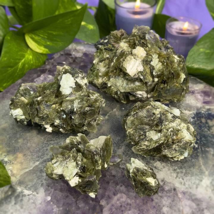 Natural Green Lepidolite Cluster
