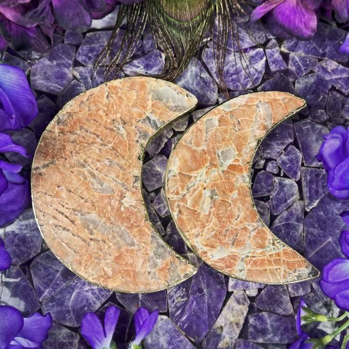 Peach Moonstone with Smoky Quartz Moon Magic Plate