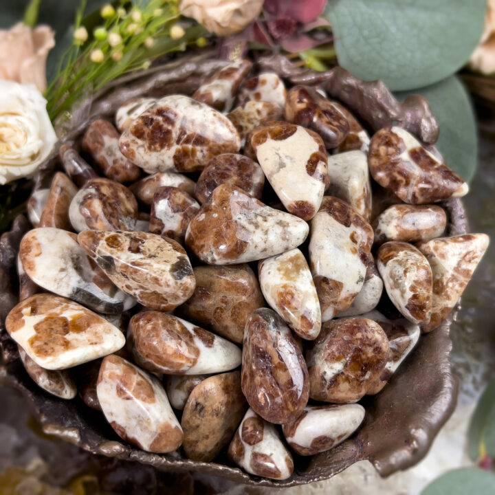 Tumbled Spessartine Garnet in Limestone