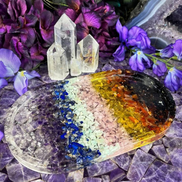 9 Chakra Gemstone Orgone Tray