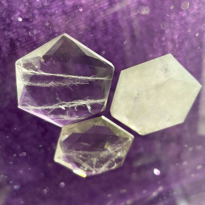 Amplify and Magnify Faceted Clear Quartz Hexagonal Palm Stone