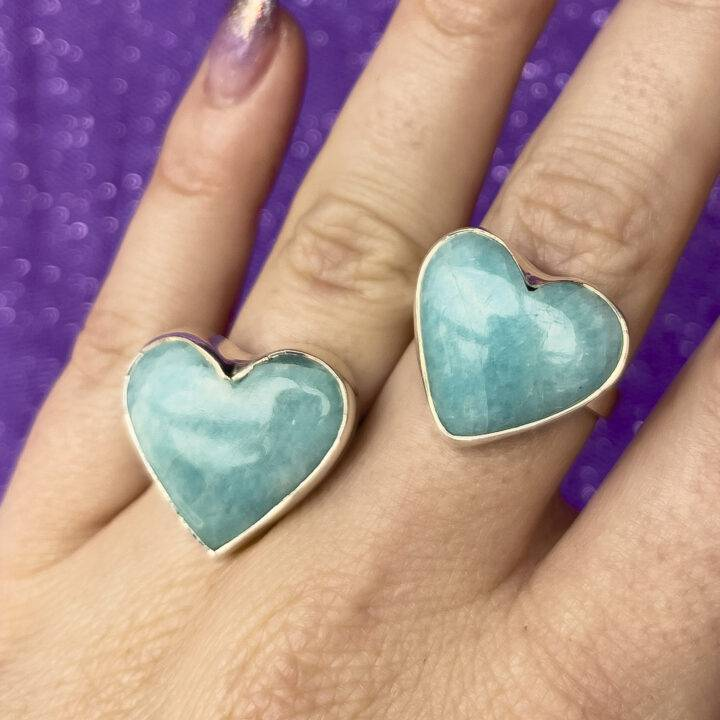 Amazonite Adjustable Ring Heart