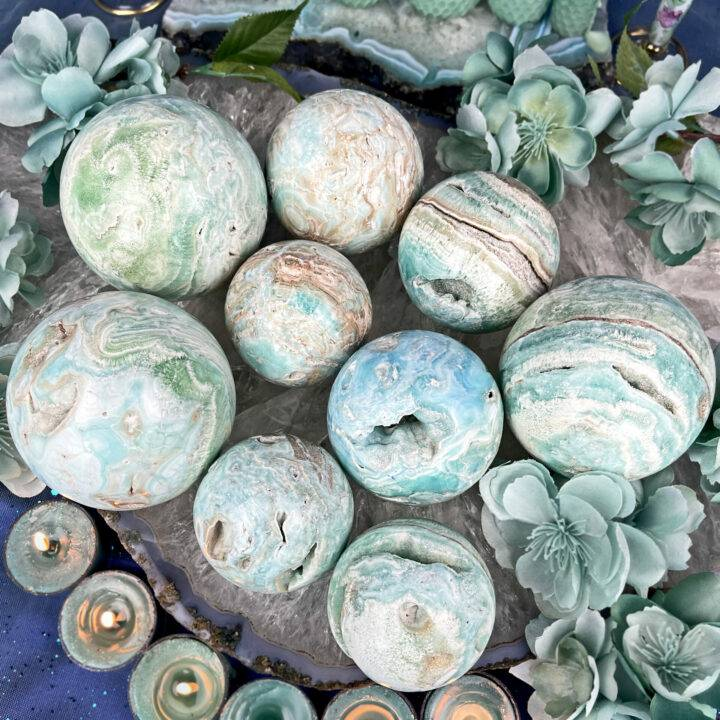 Angelic Peace and Patience Blue Aragonite Sphere