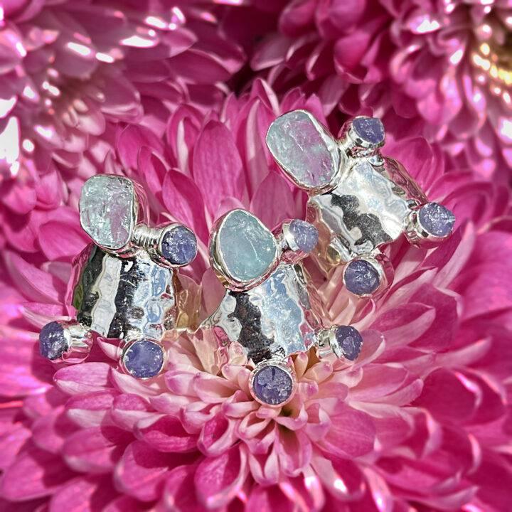 Athena's Aquamarine and Tanzanite Water Priestess Ring