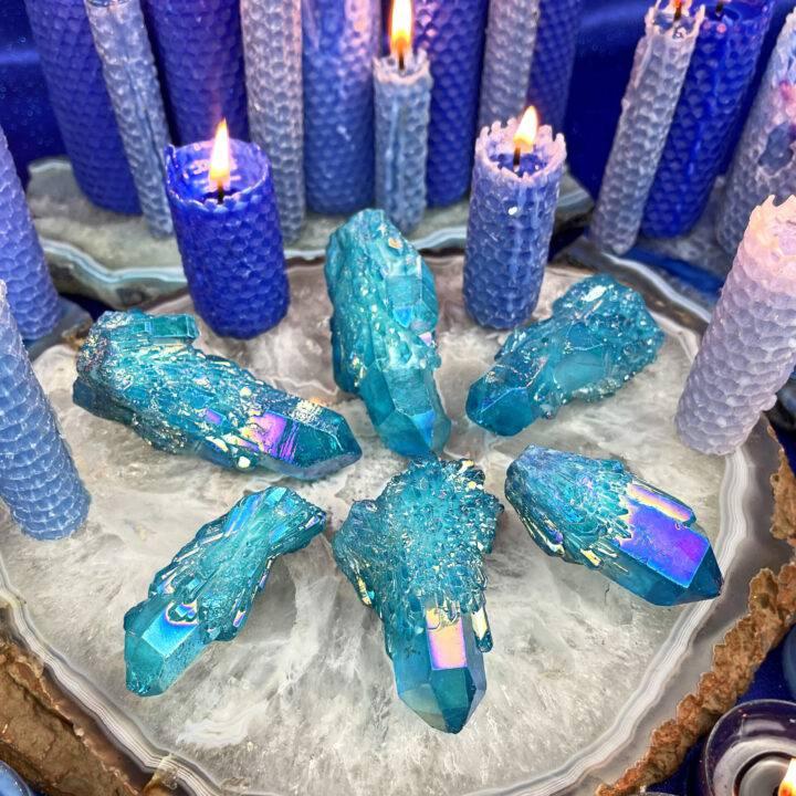 Blue Aura Candle Quartz Point