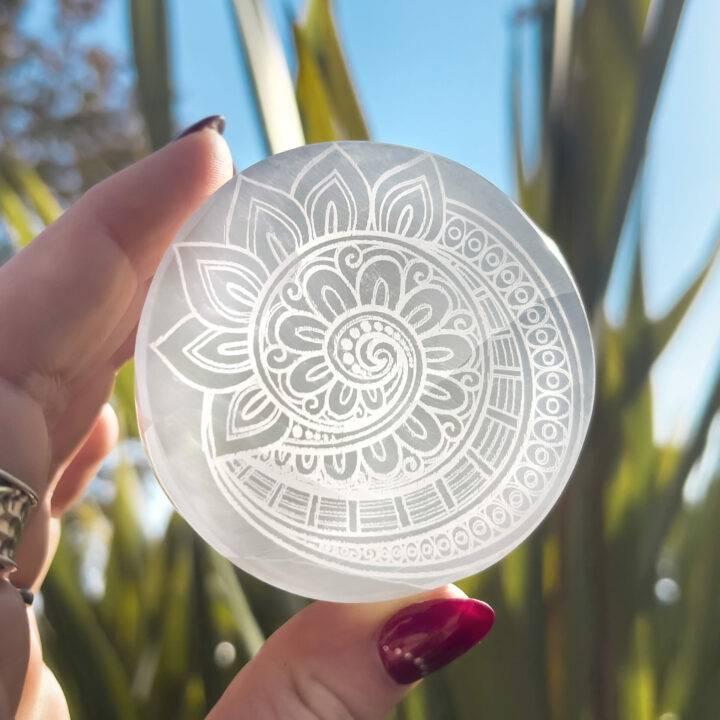 Fibonacci Engraved Selenite Charging Disc