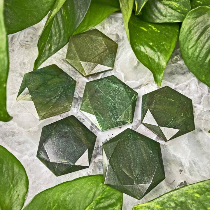 Healing and Abundance Faceted Jade Palm Stone