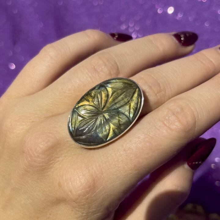 Labradorite Adjustable Ring, Flower Carved