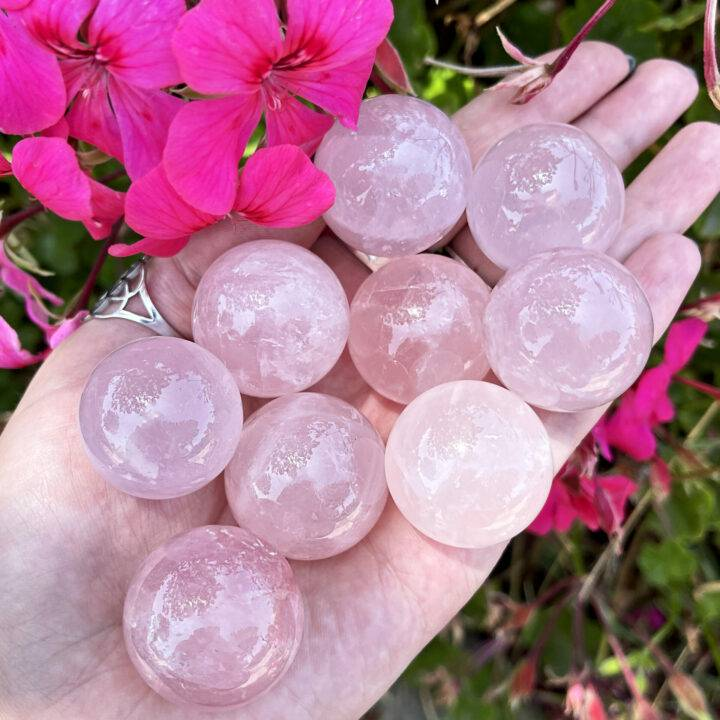 Love and Peace Mini Rose Quartz Sphere