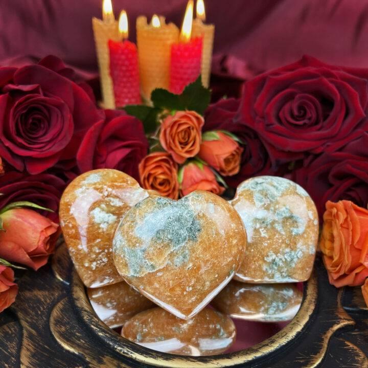Orange Calcite with Epidote Heart of Passion