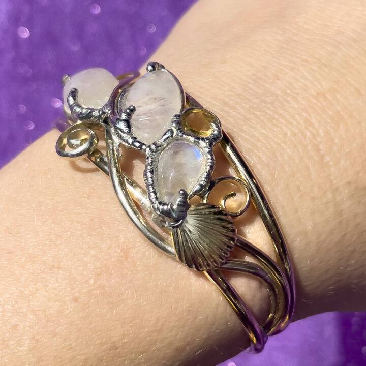 Rainbow Moonstone, Citrine, and Clear Quartz Sterling Silver Cuff Bracelet