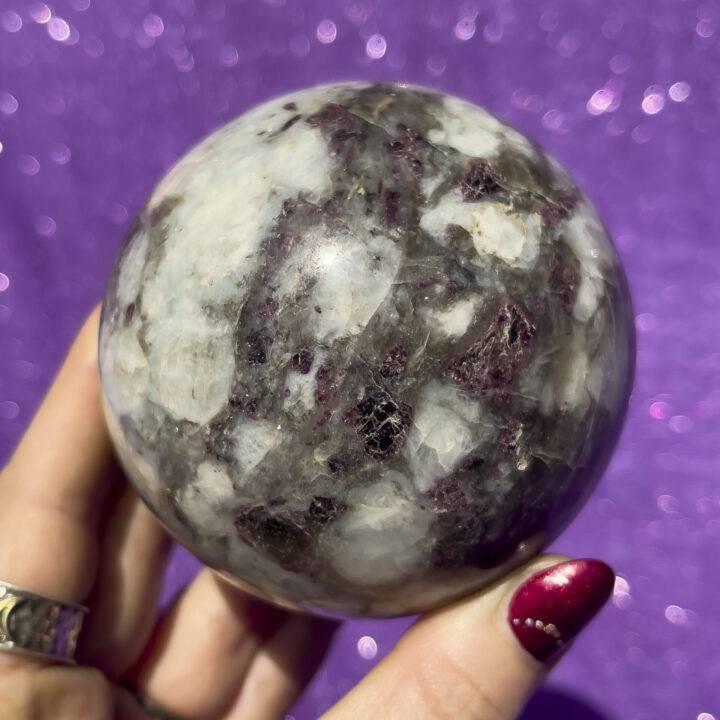 Rubellite and Smoky Quartz Sphere