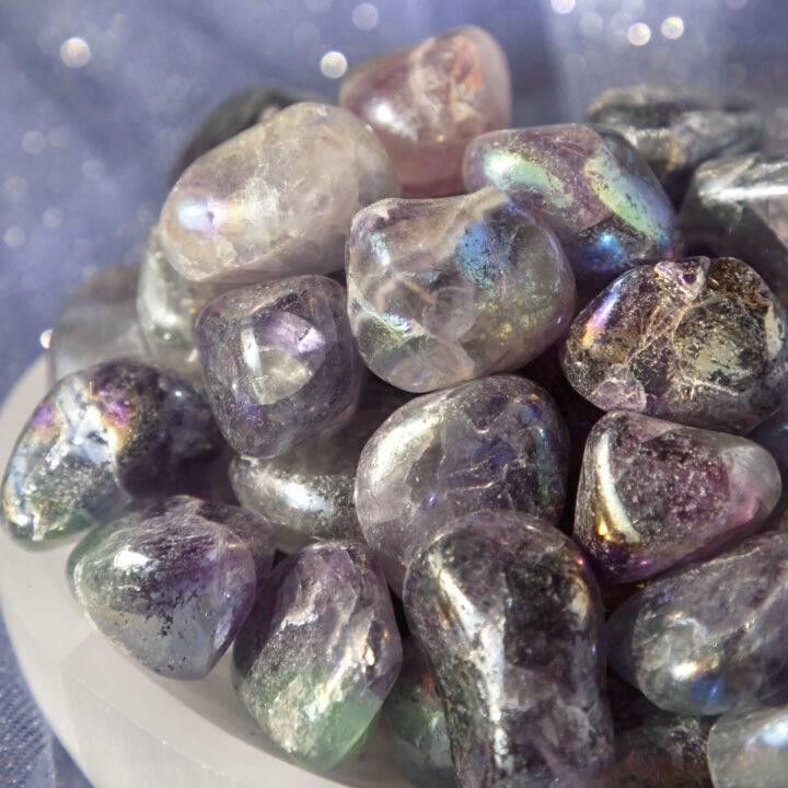 Small Tumbled Angel Aura Fluorite
